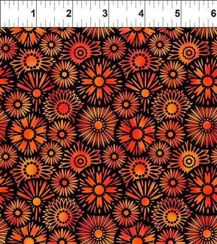 Unusual Garden II - Blooms - Orange/Black