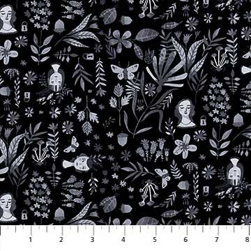 Eloise's Garden - Faces & Foliage - Black