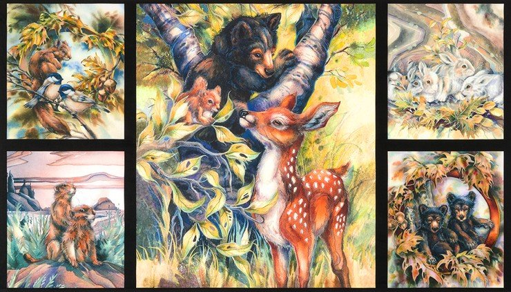 North American Wildlife Digital - Forest Critters Panel