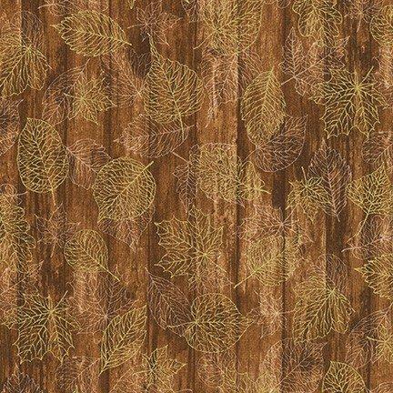 Autumn Beauties Metallic - Leaf Outlines - Redwood