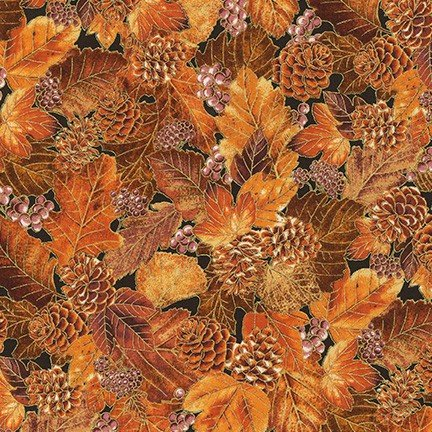 Autumn Beauties Metallic - Leaves & Pinecones - Spice