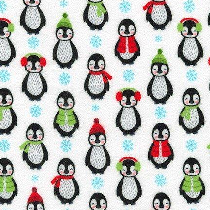 Bundled Buddies Flannel - Penguins - White