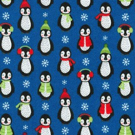 Bundled Buddies Flannel - Penguins - Blue
