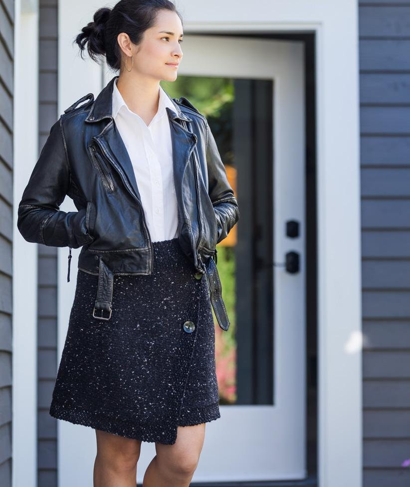 Buttoned Wrap Skirt