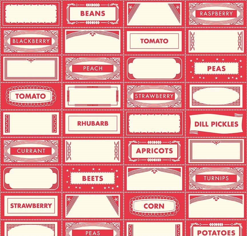 Farm Girl - Canning Labels - Red