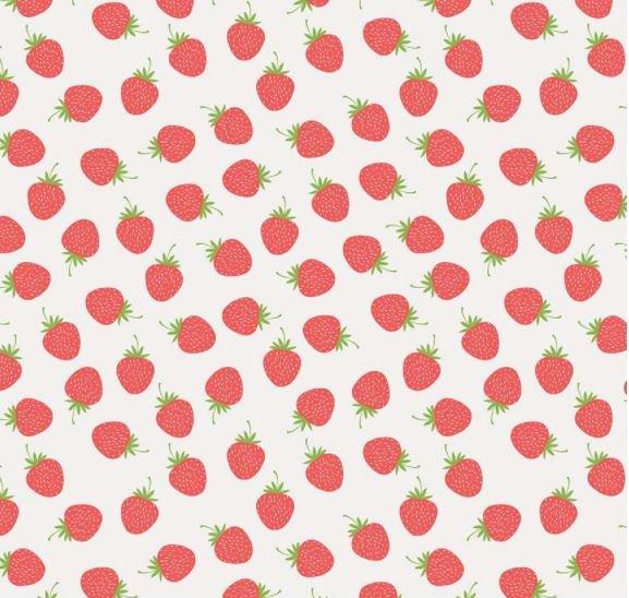 Butterflies & Berries - Strawberries - White