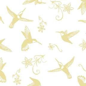 Land-Sea-Sky - Hummingbirds & Flowers - Beige on White