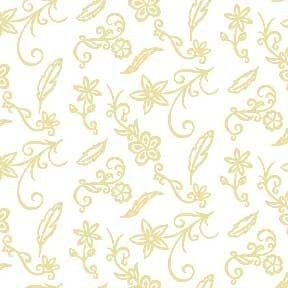 Land-Sea-Sky - Flowers & Feathers - Beige on White