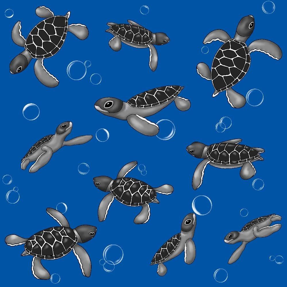 Under the Sea - Turtles - Blue (Remnant: 1-7/8 yds)