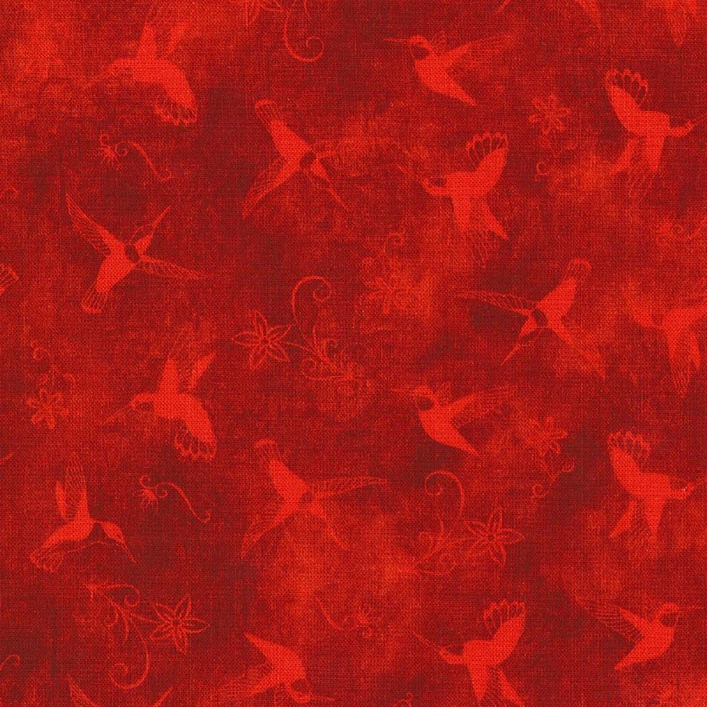 Land-Sea-Sky Tonals - Hummingbirds & Flowers - Red