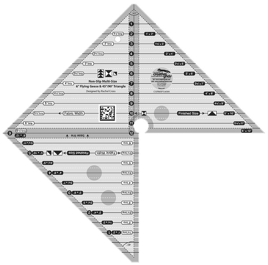 Creative Grids 6 Flying Geese & 45 & 90 Degree Triangle Ruler