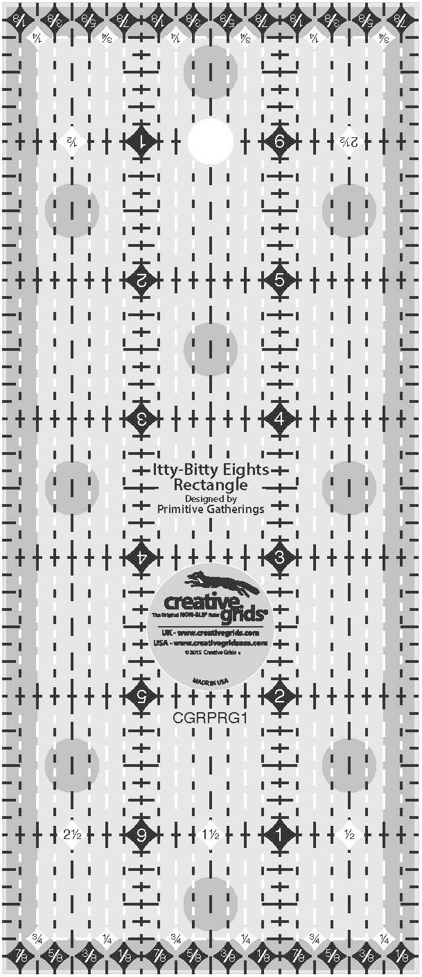 Creative Grids Itty-Bitty Eights Rectangle Ruler - 3 x 7