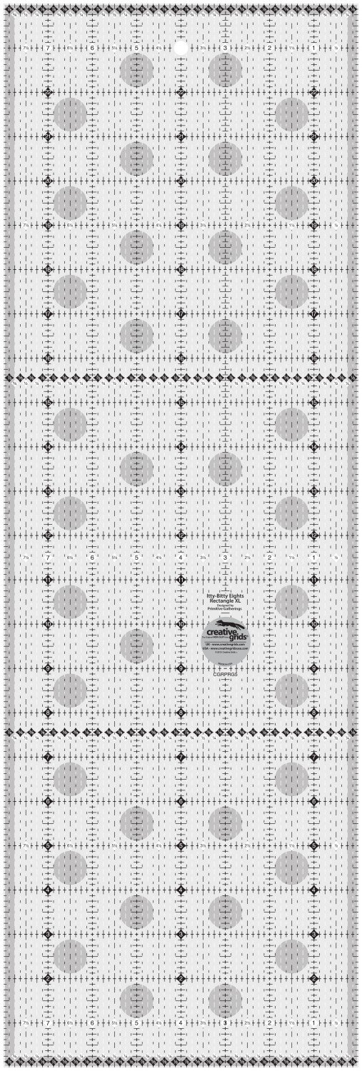 Creative Grids Charming Itty-Bitty Eights Rectangle XL - 8 x 24 Quilt Ruler
