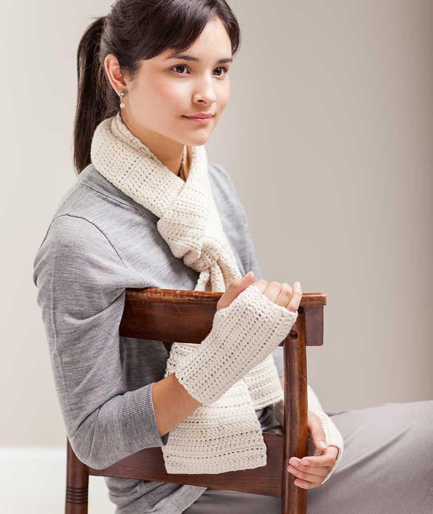 Crocheted Sampler Scarf & Handwarmers