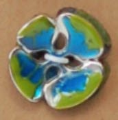 Metal w/ Enamel Concave Burst Flower Button - Green/Blue