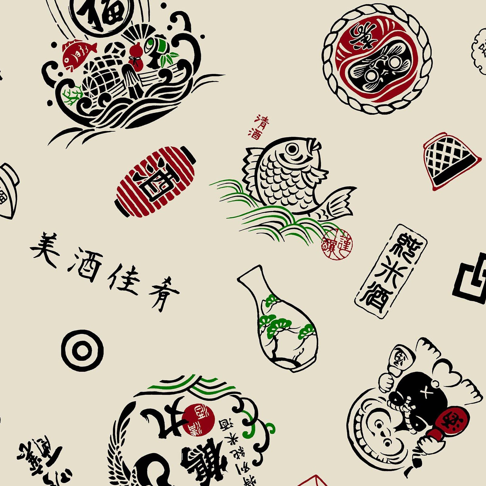 Retro Japanese Style - Sushi Bar Motifs - Cream