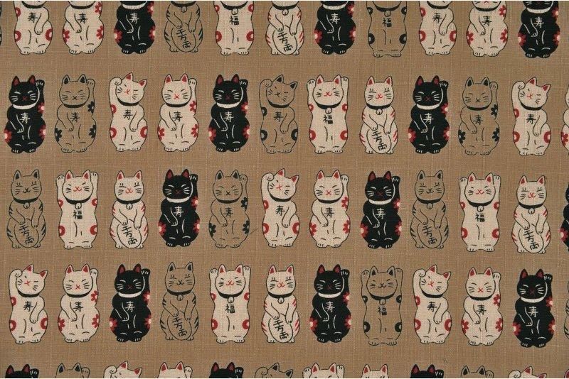Fuku Dobby - Standing Cats - Tan