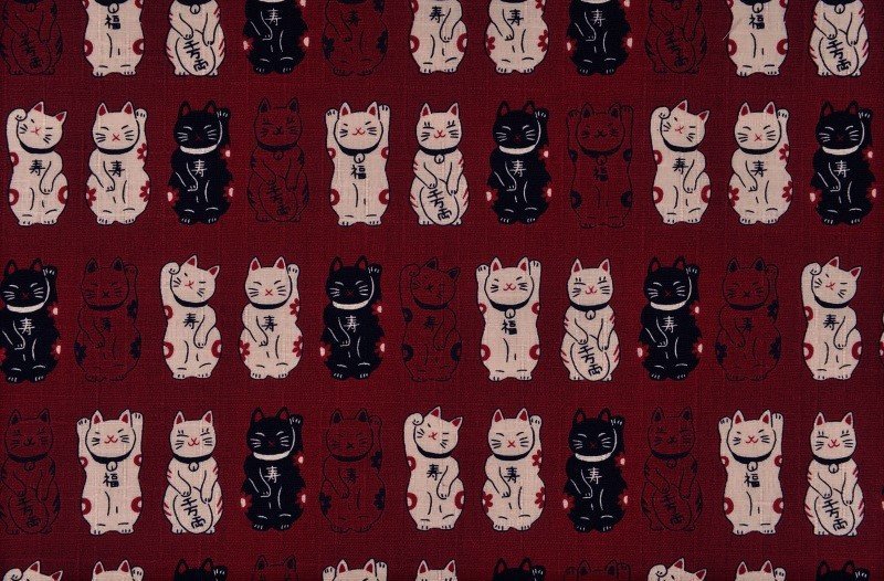 Fuku Dobby - Standing Cats - Red