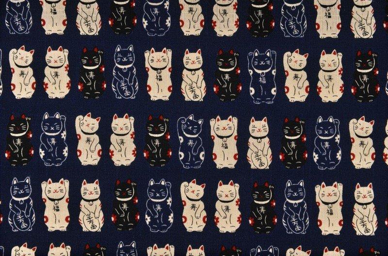 Fuku Dobby - Standing Cats - Indigo