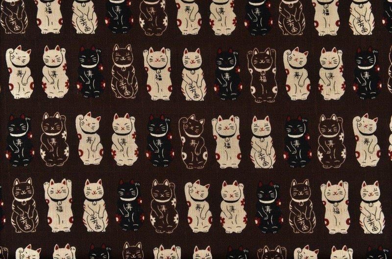 Fuku Dobby - Standing Cats - Brown