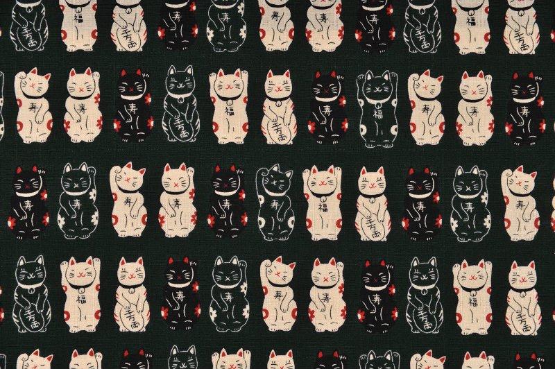 Fuku Dobby - Standing Cats - Dark Green