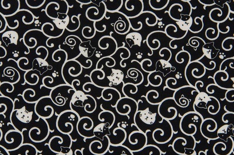 Fuku Dobby - Cat Scroll - Black