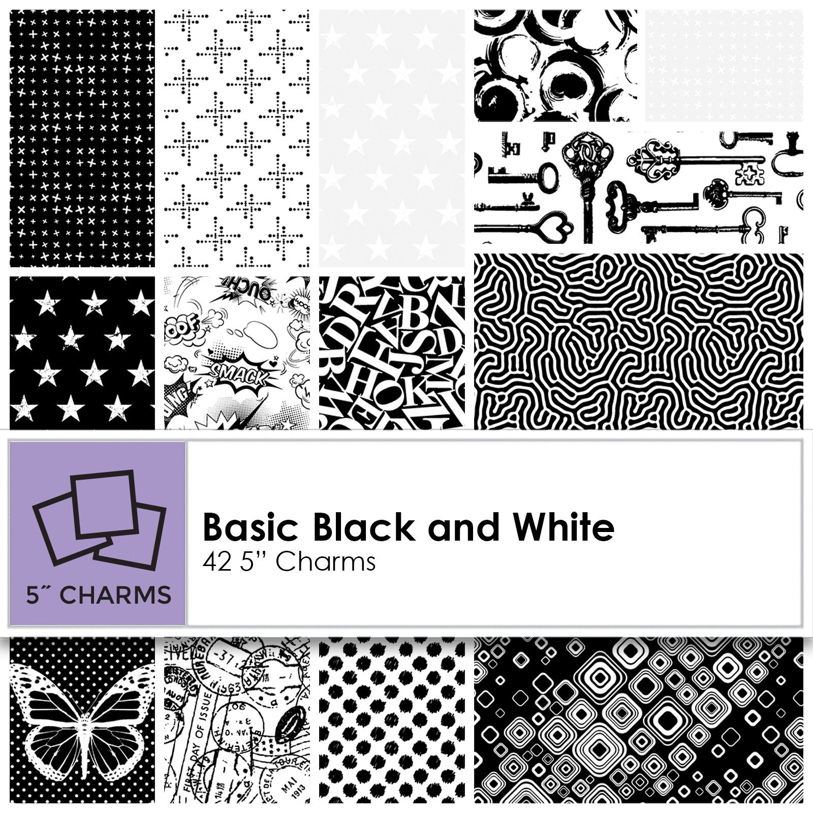 Basically Black + White Charm Pack (42 pieces)