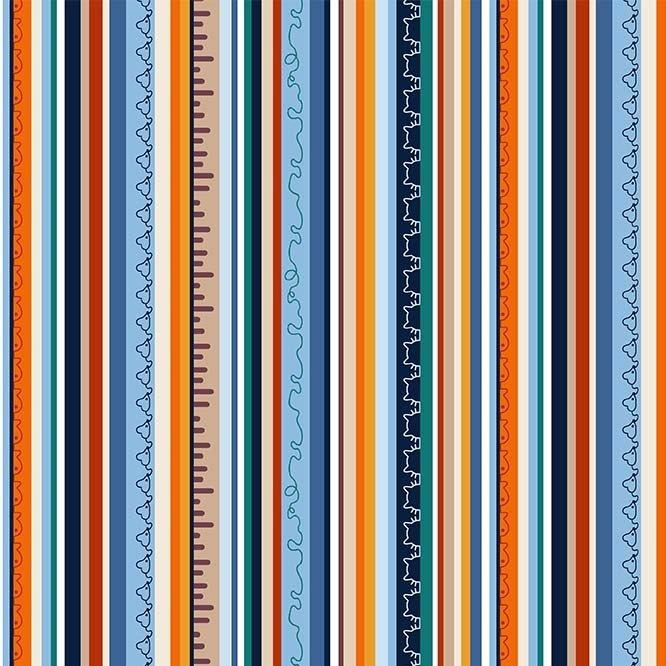 Feline Friends - Cats Stripe (Remnant: 1-3/4 yds)