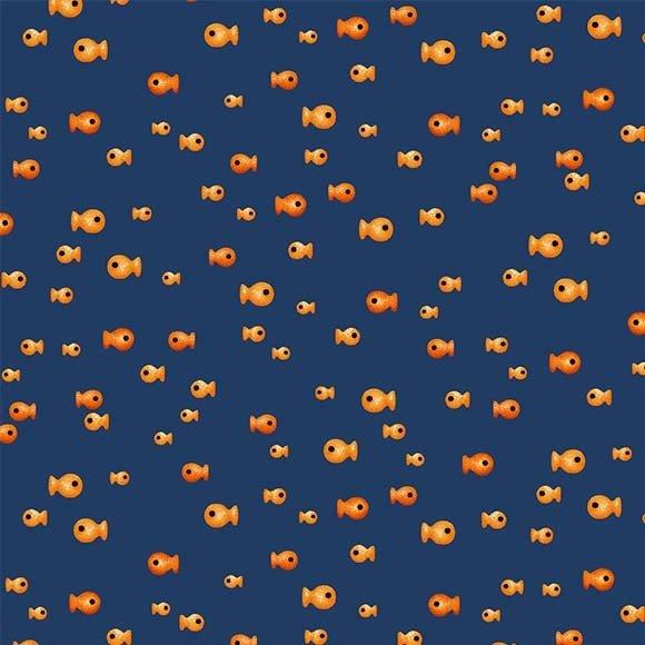 Feline Friends - Fresh Fish - Navy (Remnant: 1-2/3 yds)