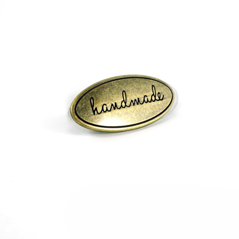 Handmade Metal Oval Bag Label