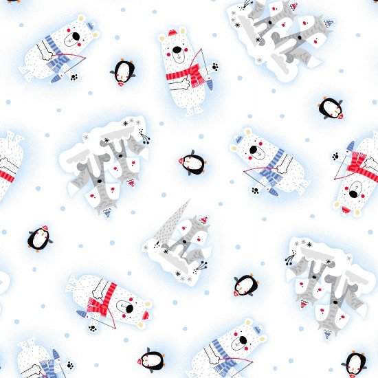 Polar Pals Flannel - All-Over Tossed Animals - White