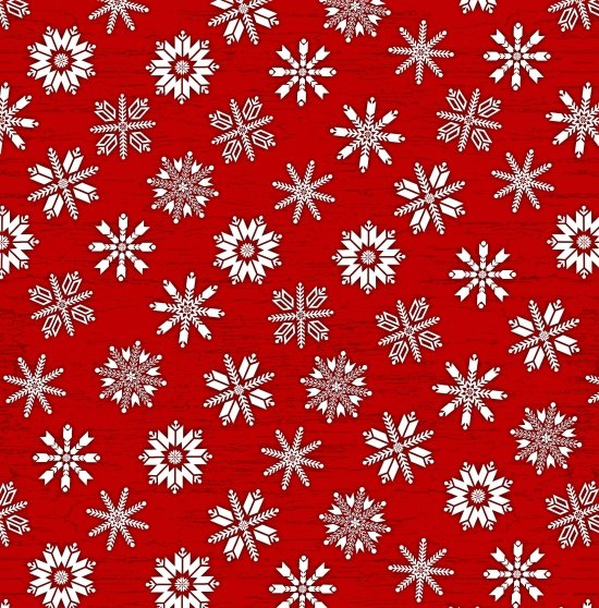 Frosty Folks Flannel - Snowflakes - Red