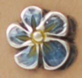 Metal w/ Enamel Flower Petal Shank - Blue/Yellow