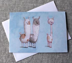 Greeting Card - 3 Alpacas