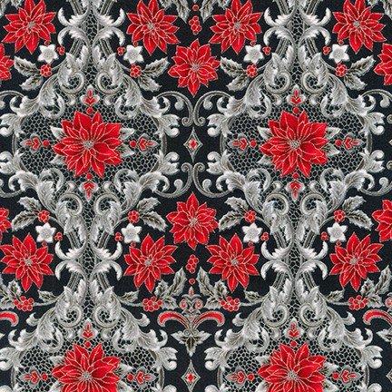 Holiday Flourish 12 - Poinsettia Damask - Ebony