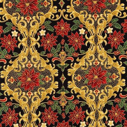 Holiday Flourish 12 - Poinsettia Damask - Black