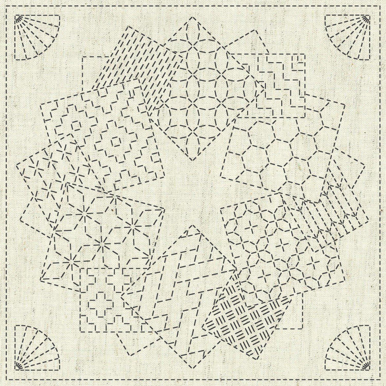 QH Textiles Sashiko Cloth - Kaza-Guruma 1