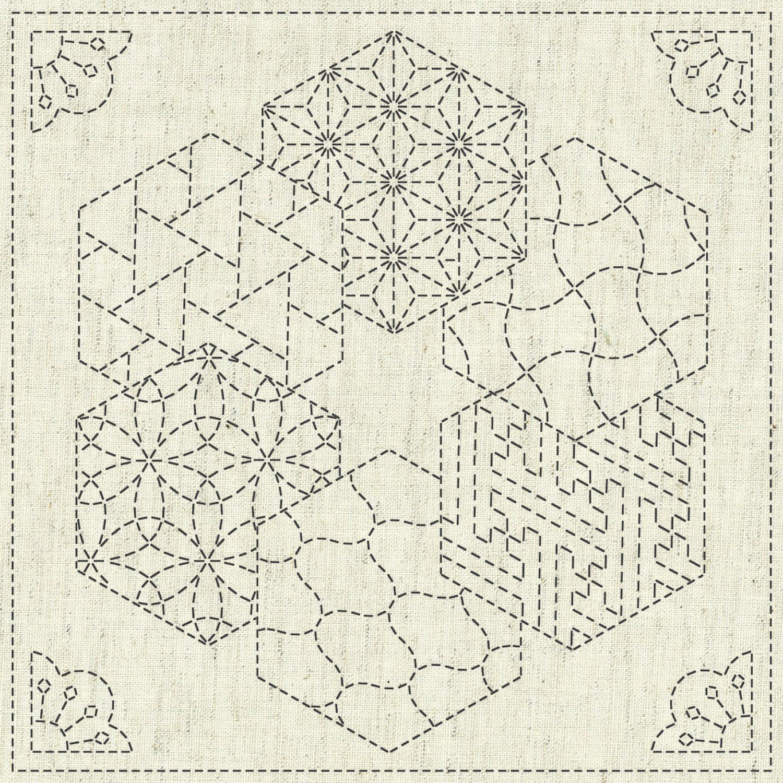 QH Textiles Sashiko Cloth - Kaza-Guruma 2