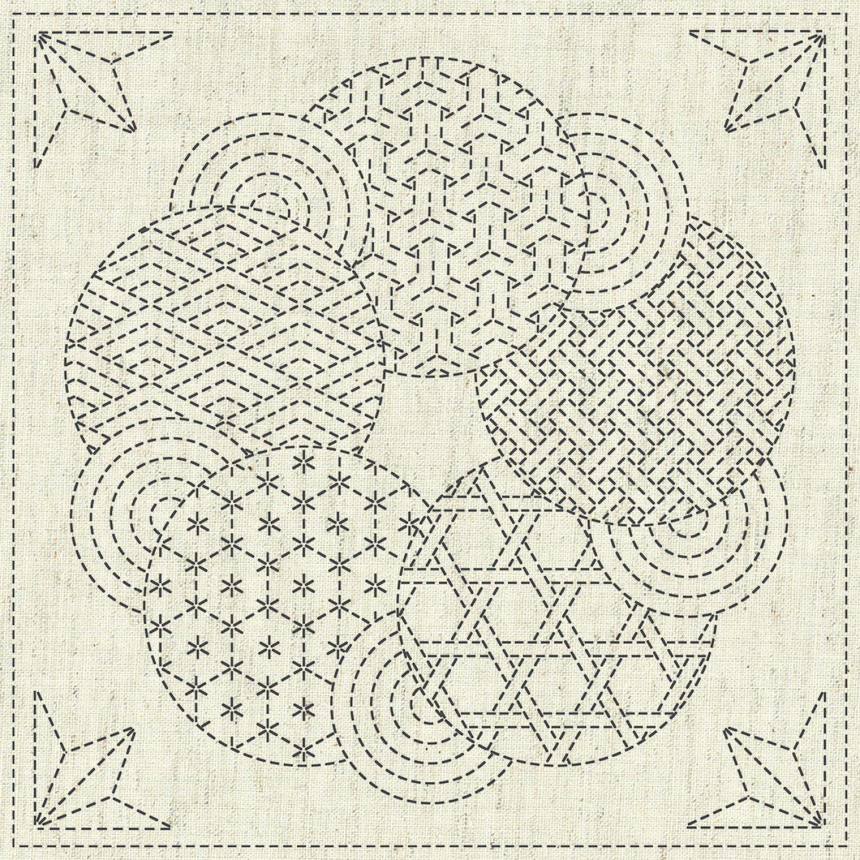 QH Textiles Sashiko Cloth - Kaza-Guruma 3