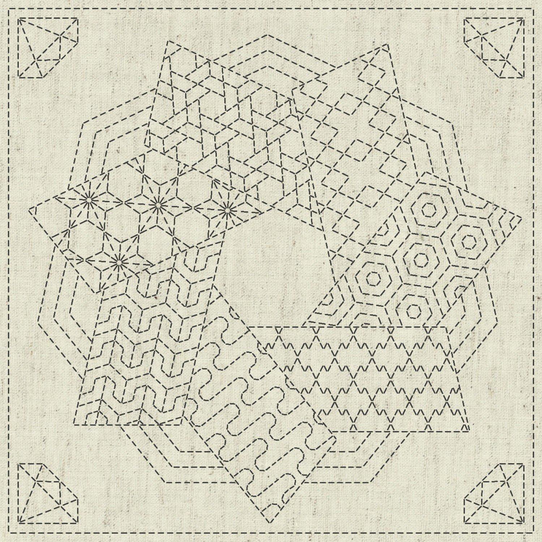 QH Textiles Sashiko Cloth - Kaza-Guruma 4
