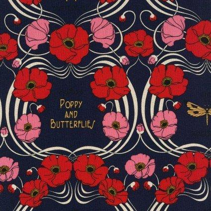 La Nostalgie Canvas - Poppies - Navy