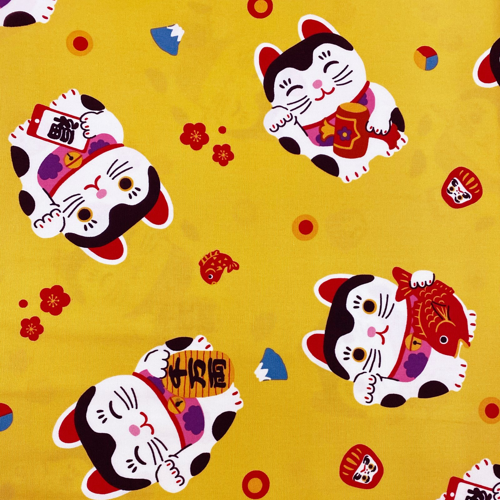 Hokkori Japan Oxford - Maneki-neko - Yellow