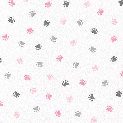 Little Savannah Flannel - Paw Prints - Pink