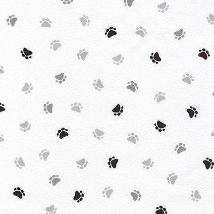 Little Savannah Flannel - Paw Prints - White