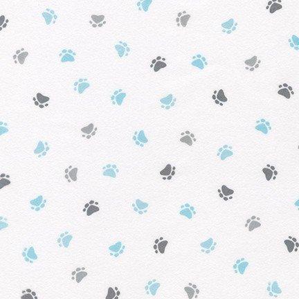 Little Savannah Flannel - Paw Prints - Blue