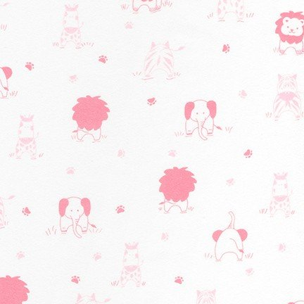 Little Savannah Flannel - Tossed Animals - Pink