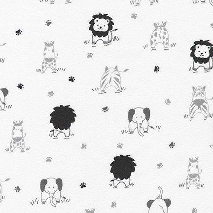 Little Savannah Flannel - Tossed Animals - White