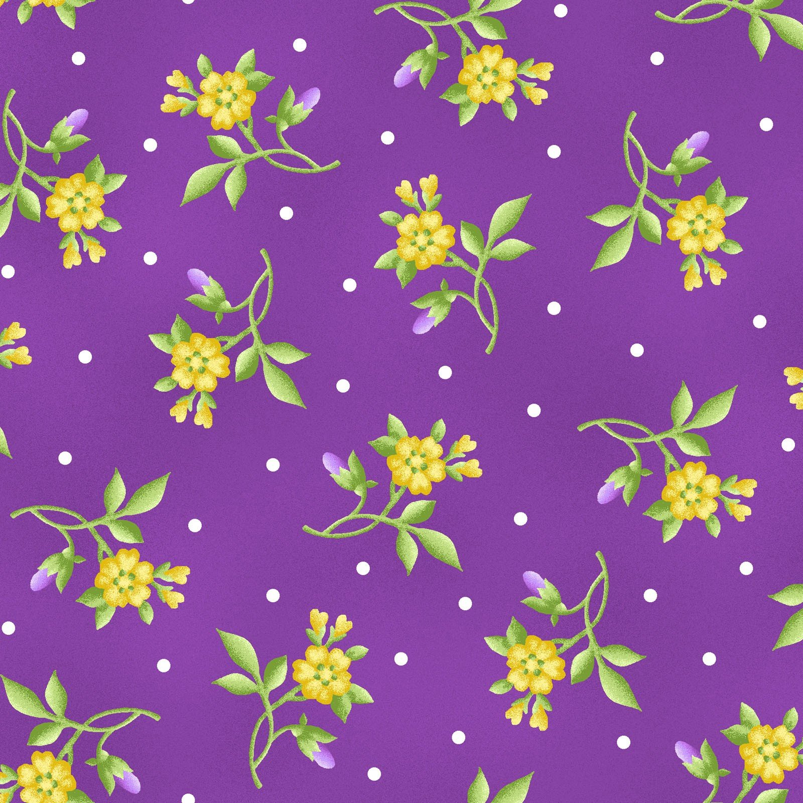 Emma's Garden - Little Flowers - Violet Red (Remnant: 1-7/8 yds)