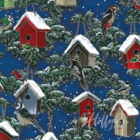 A Cardinal Christmas - Cardinals in Treehouses - Royal/Silver