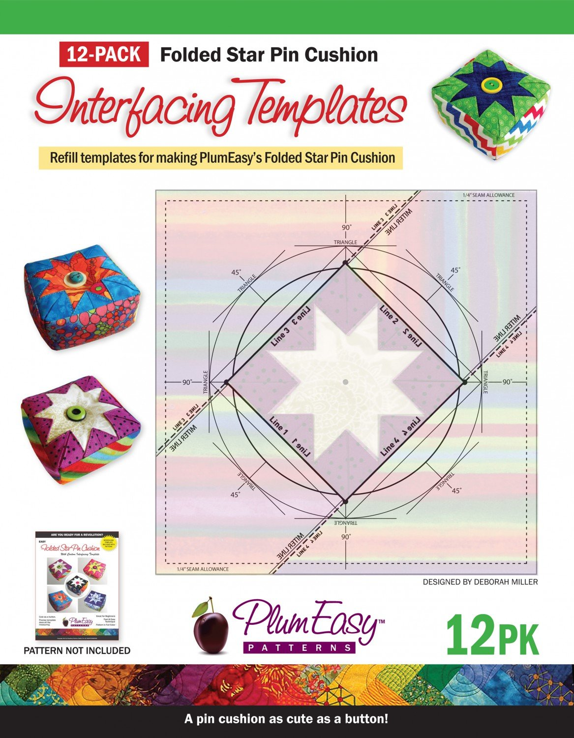 Folded Star Pin Cushion Template (12-pack)